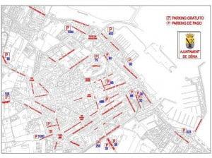 Plano de parkings en Dénia verano 2012