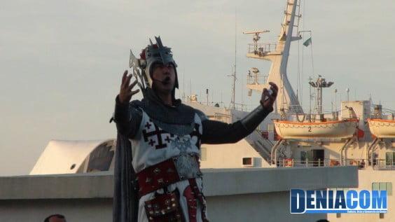 El embajador cristiano durante el acto del Desembarco de los Moros y Cristianos Dénia 2012