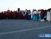 Las filàs cristianas durante el acto del Desembarco de las fiestas de Moros y Cristianos Dénia 2012