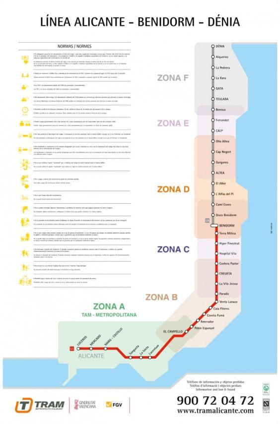 Plano zonal de la línea 9 del TRAM