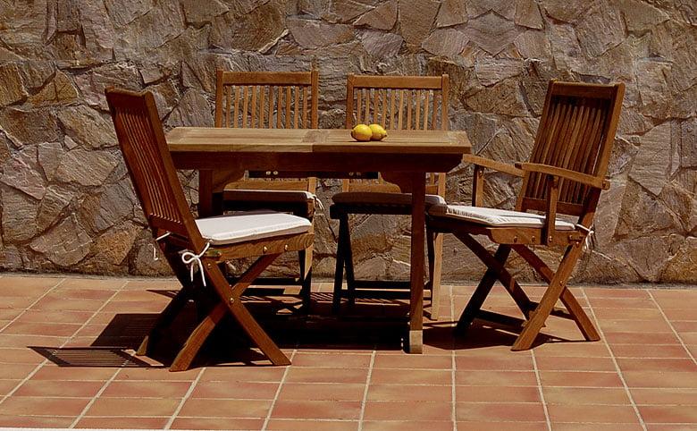 Conjunto mesa y sillas de teca para exterior terrazas for Mesa y sillones para jardin