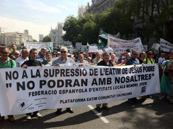 Jesus Pobre in the demonstration in Madrid