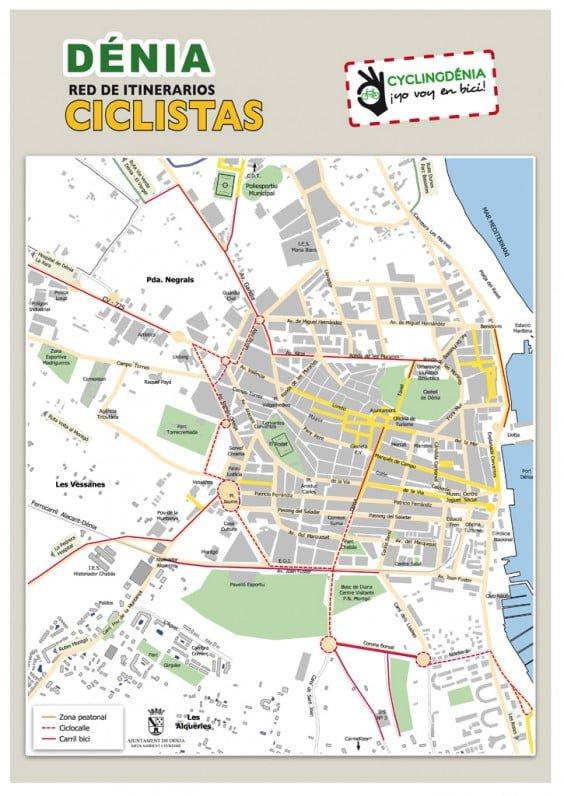 Mapa de itinerarios ciclistas por Dénia