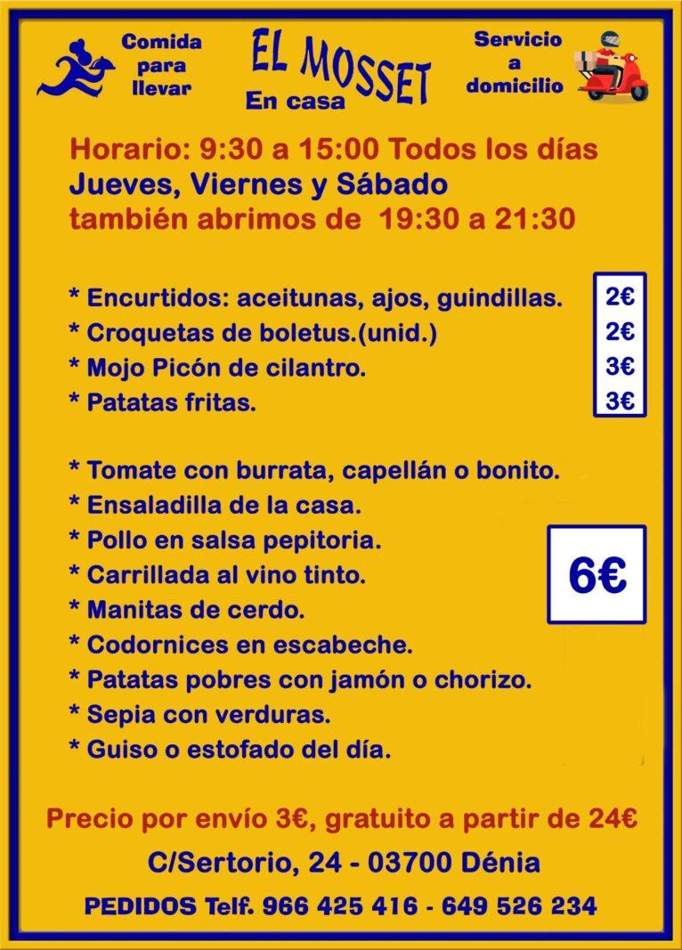 Takeaway menu El Mosset