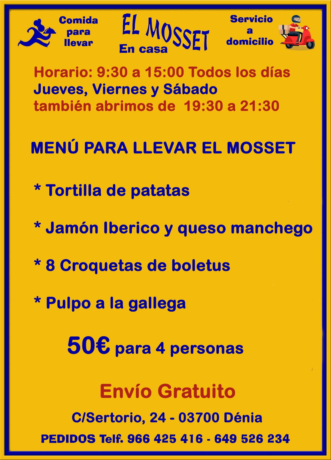 Take away menu El Mosset