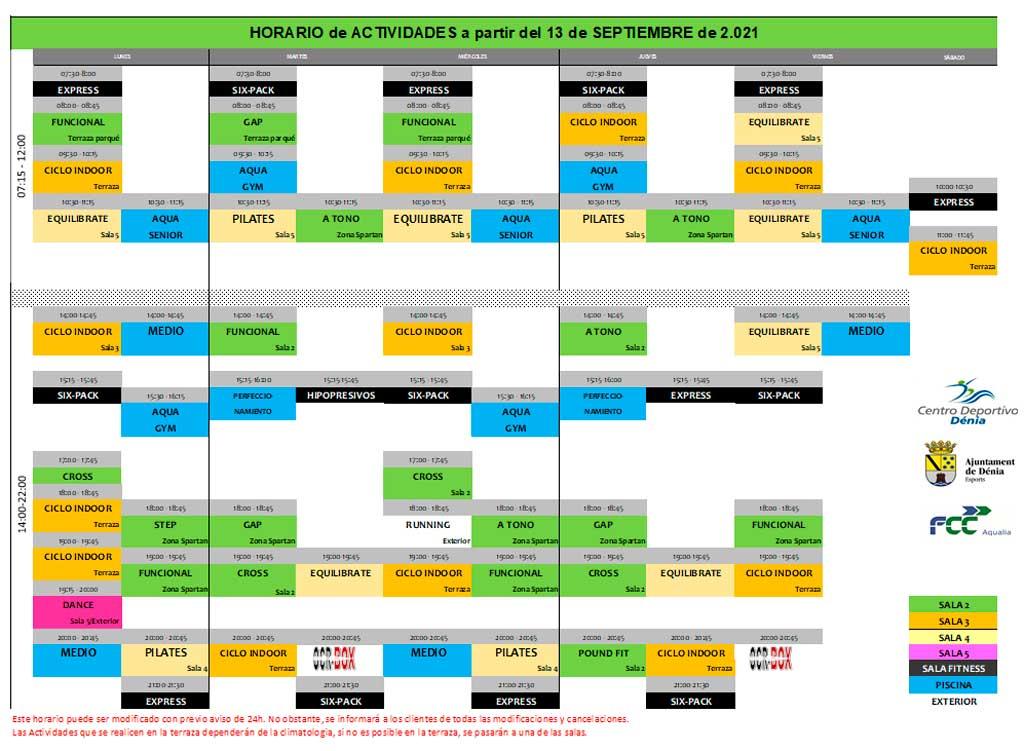 Horario actividades Centro deportivo Denia