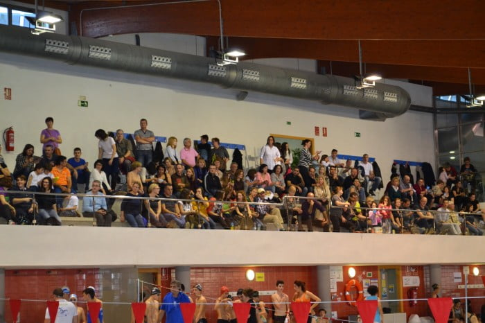 Filled bleachers at the Sports Center Aqualia