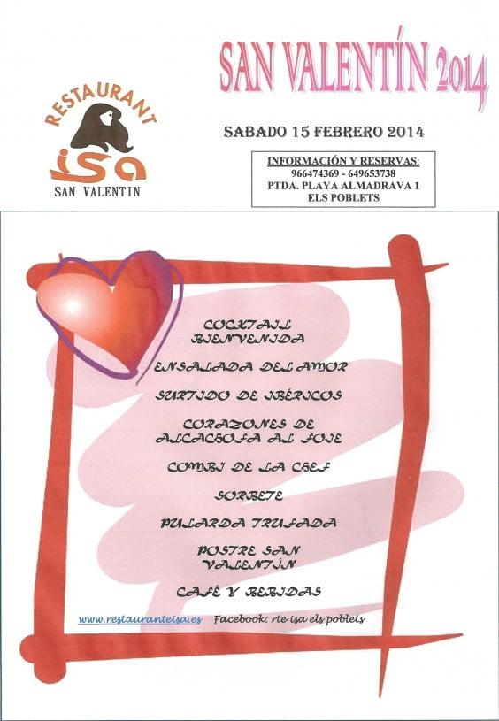 Menú especial de San Valentín Restaurante Isa Dénia