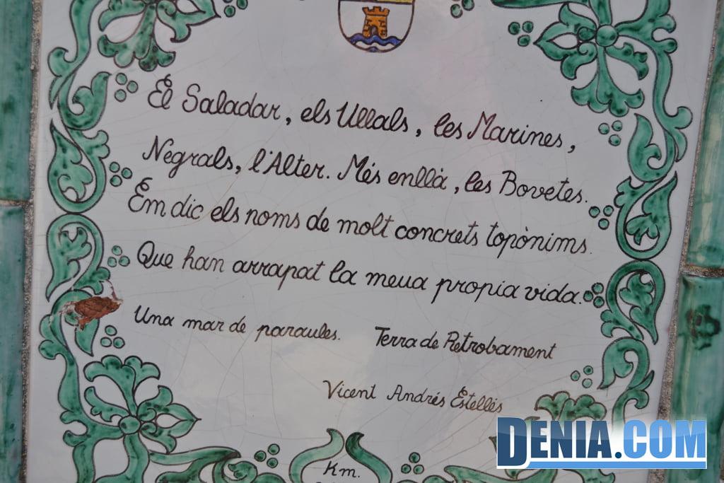 Poema de Vicent Andrés Estellés en la ermita de San Juan de Dénia