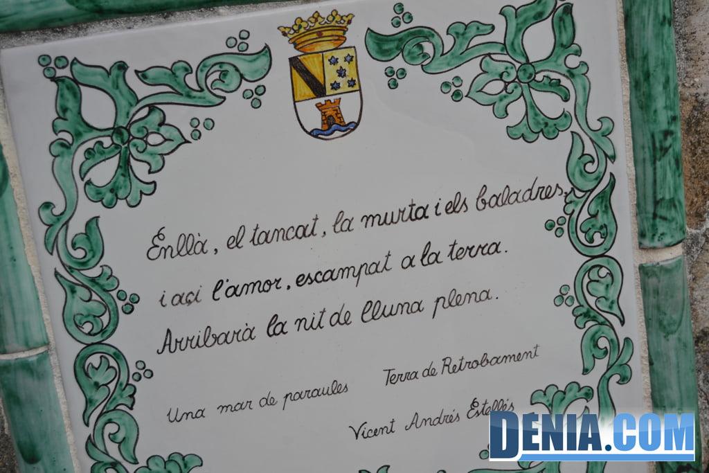 Poema de Vicent Andrés Estellés en la ermita de Santa Lucía