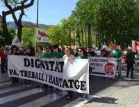Cabecera de la manifestación del Día del Trabajo en Dénia