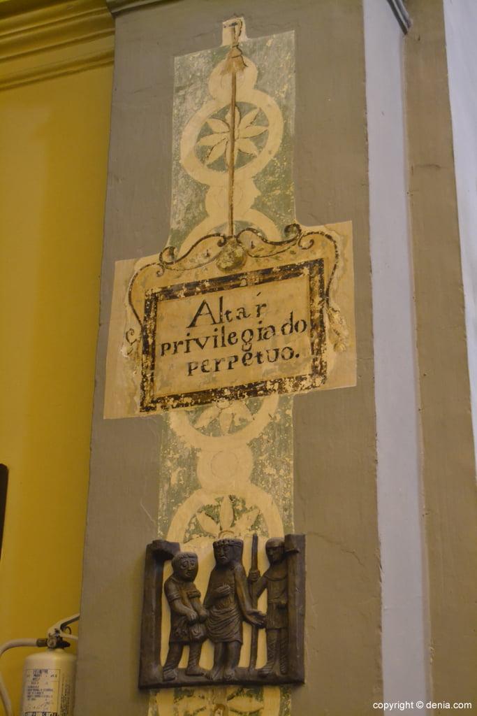 Cartel de altar privilegiado perpetuo en la Iglesia de San antonio
