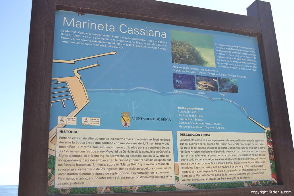 Panel informativo sobre la playa de la Marineta