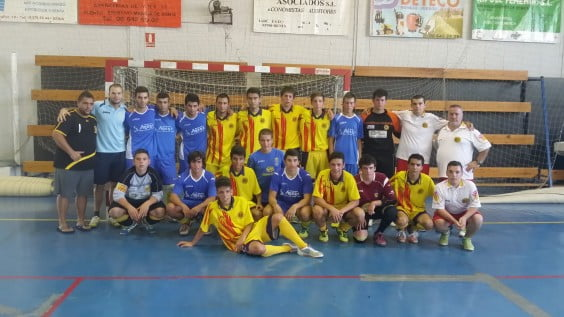 Jaime Moreno with his youth team and the Catalan Selection