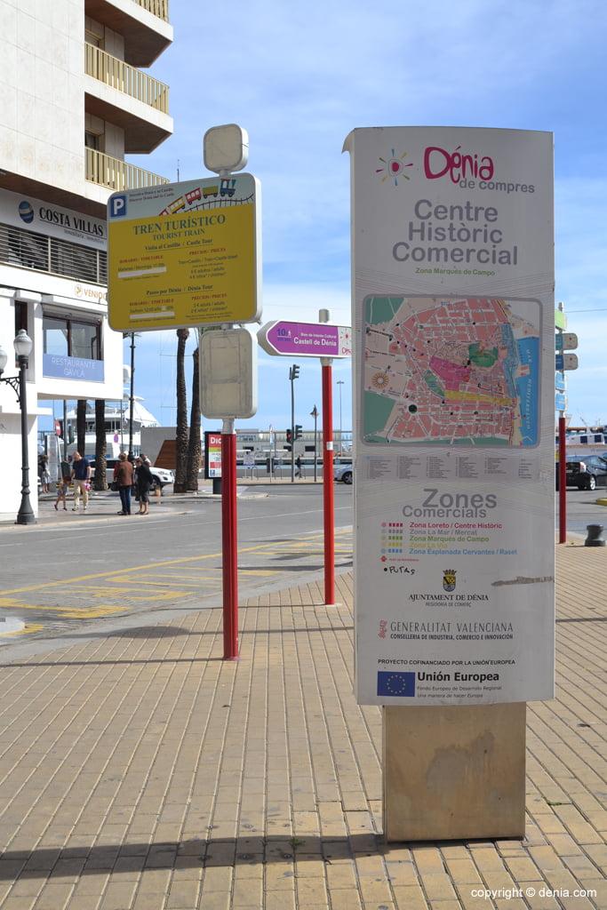 tourist signage on the street Marqués de Campo