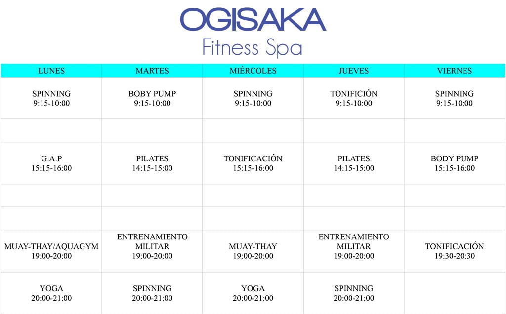 Horario Ogisaka Fitness Spa 2018