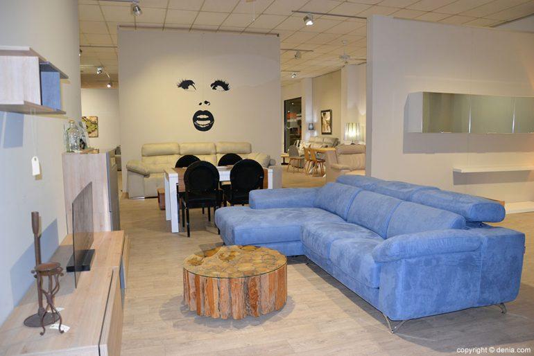 Salón sofá azul Muebles Martínez
