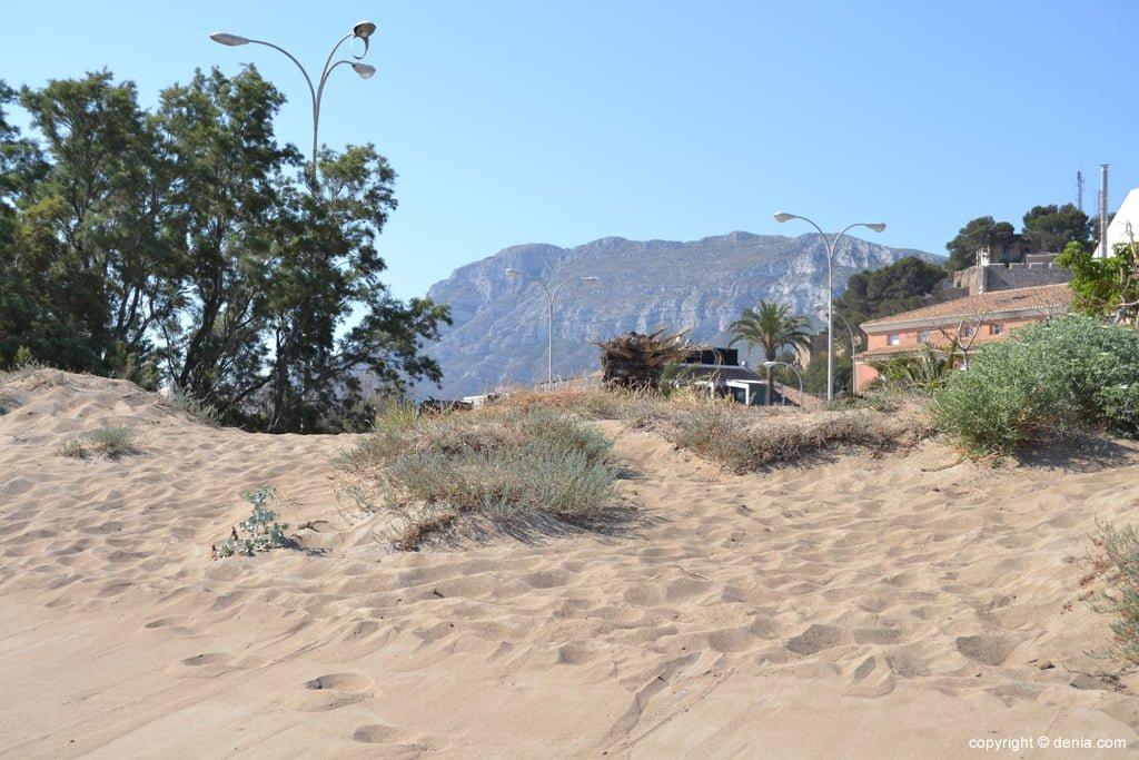 Dunas en la playa de la Punta del Raset de Dénia