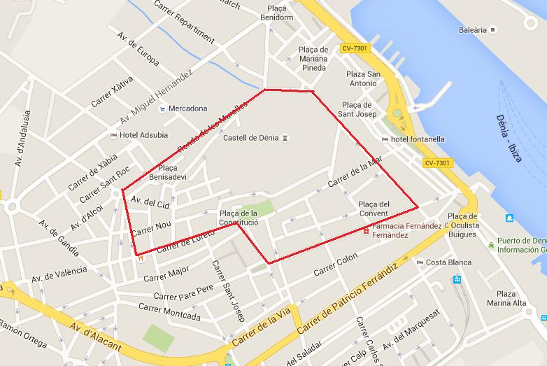 Mapa Centro Histórico Dénia