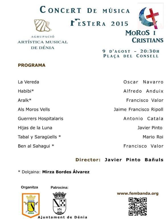 Programa del concierto de la Banda de Dénia