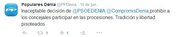 Tweet of the PP about the processions