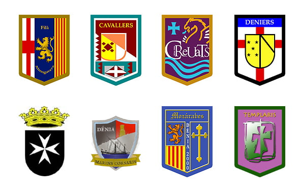 Escudos de las Filaes cristianas de Dénia