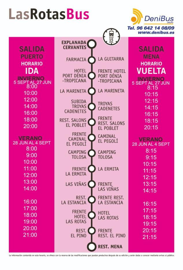 Imagen: Horario de autobús Dénia - Las Rotas