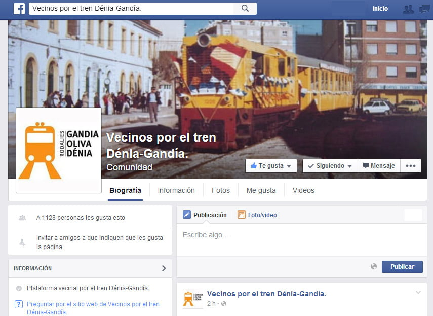 Facebook page of the Neighborhood Platform by the train to Gandía