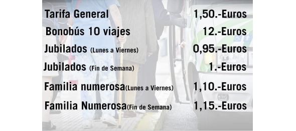 lignes de bus régulières Dénia taux