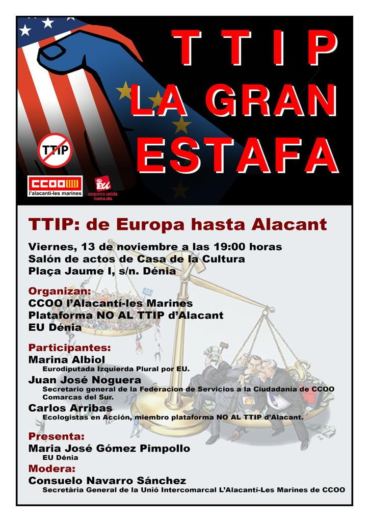 Cartell de la xerrada sobre el TTIP a Dénia