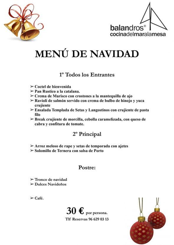 Men s de navidad y nochevieja en restaurante balandros d - Restaurante para navidad ...
