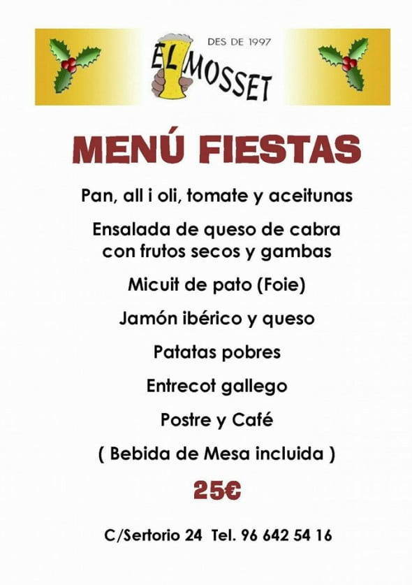 Menu for Christmas parties 2015 El Mosset