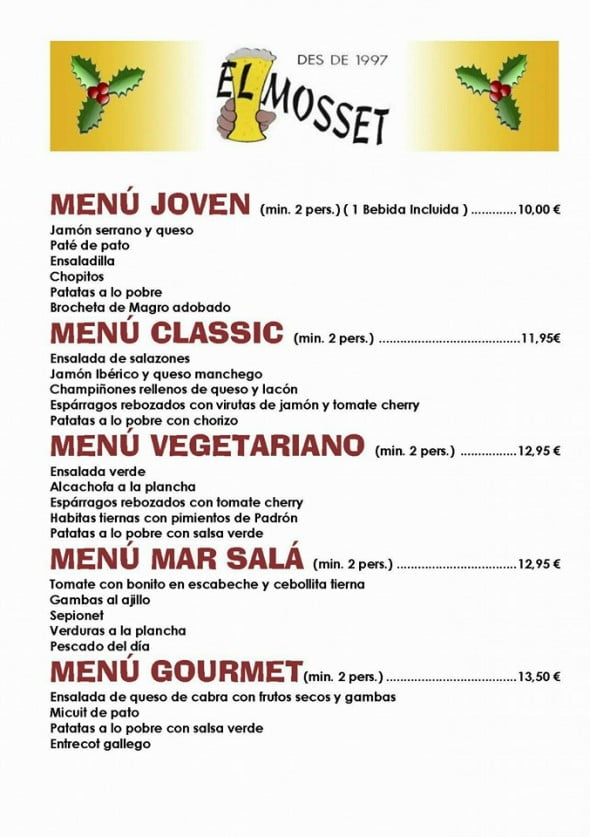 Menus for Christmas parties El Mosset