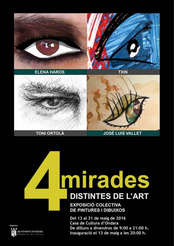cartel 4 mirades distintes de art Escuela Taller de Arte