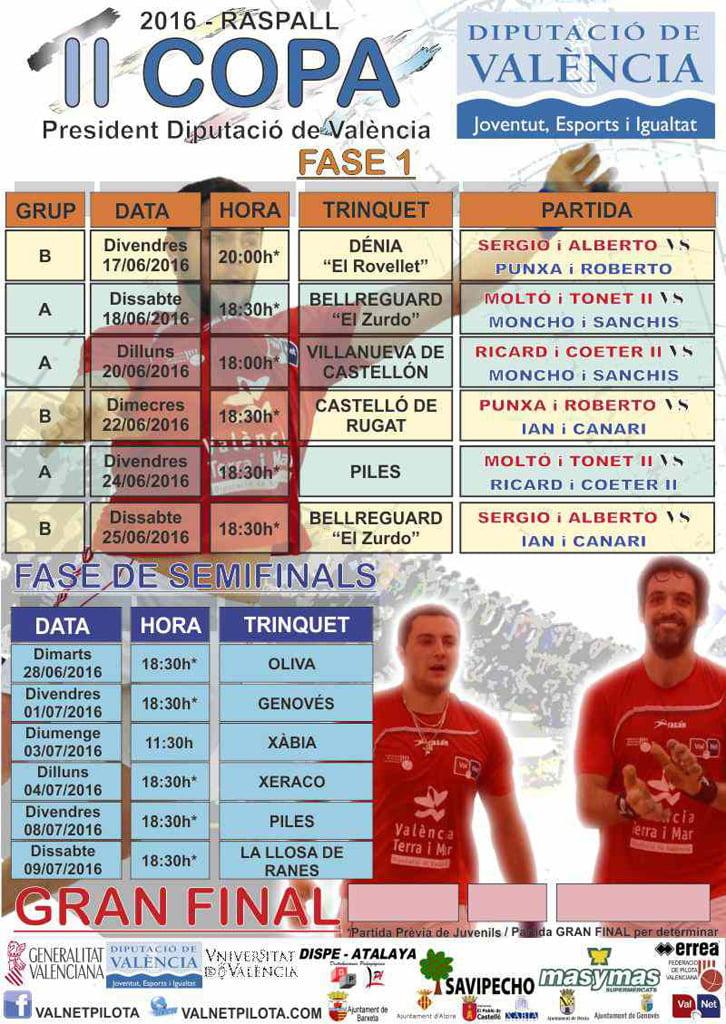 Calendari II Copa President de la Diputació de València