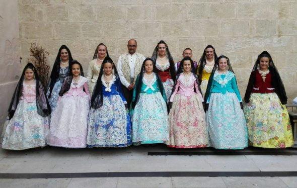 Falleras Mayores de Dénia y Cortes de Honor en la procesión del Corpus