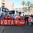 PSOE de Alicante en la parada de autobuses de Dénia