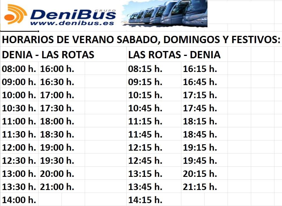 Horarios Autobús Les Rotes Dénia