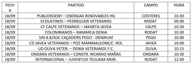 Schedules 3º football day veterans