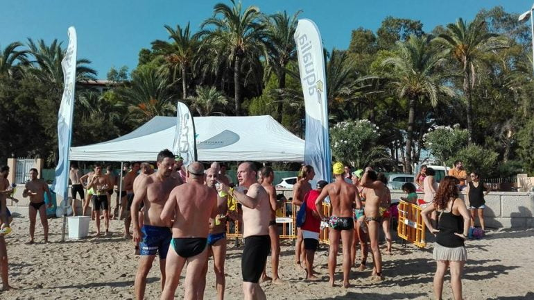Swimmers in the finish area