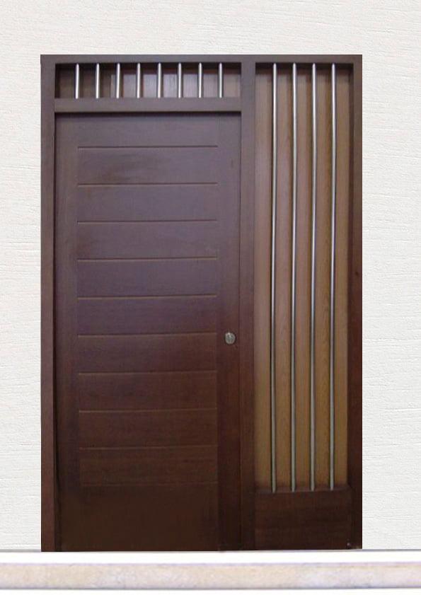Door ref.56 wood pine color wengue mod machiembrado frame B1 Carpintería Fusta