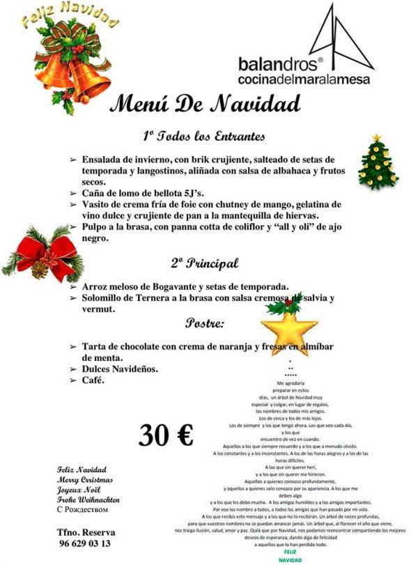Christmas menu Balandros
