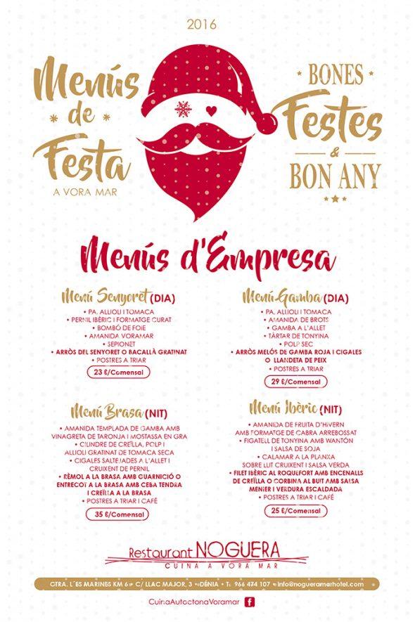 Menú empreses Nadal Restaurant Noguera