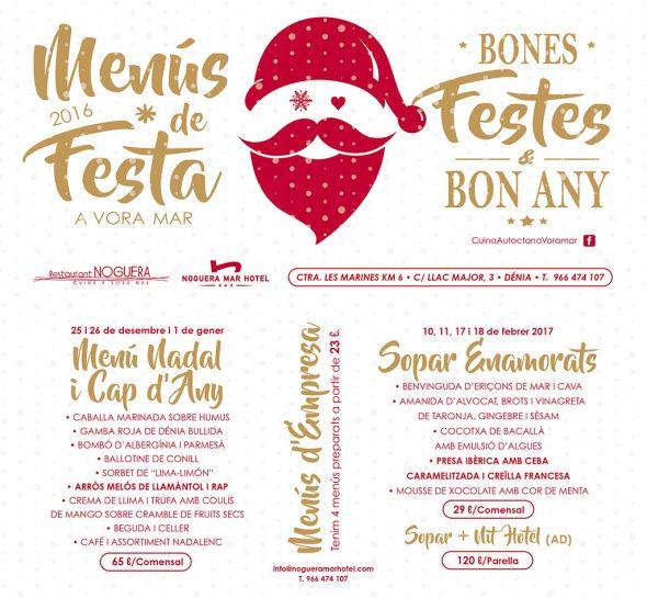 Menus para fiestas Navidad Restaurante Noguera