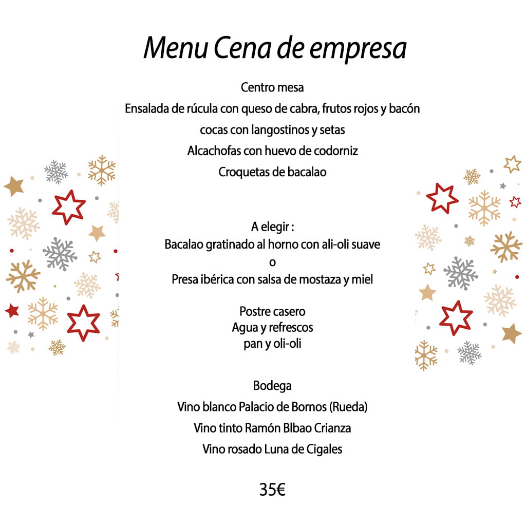 Menu cena de empresa el cant d for Menu cenas