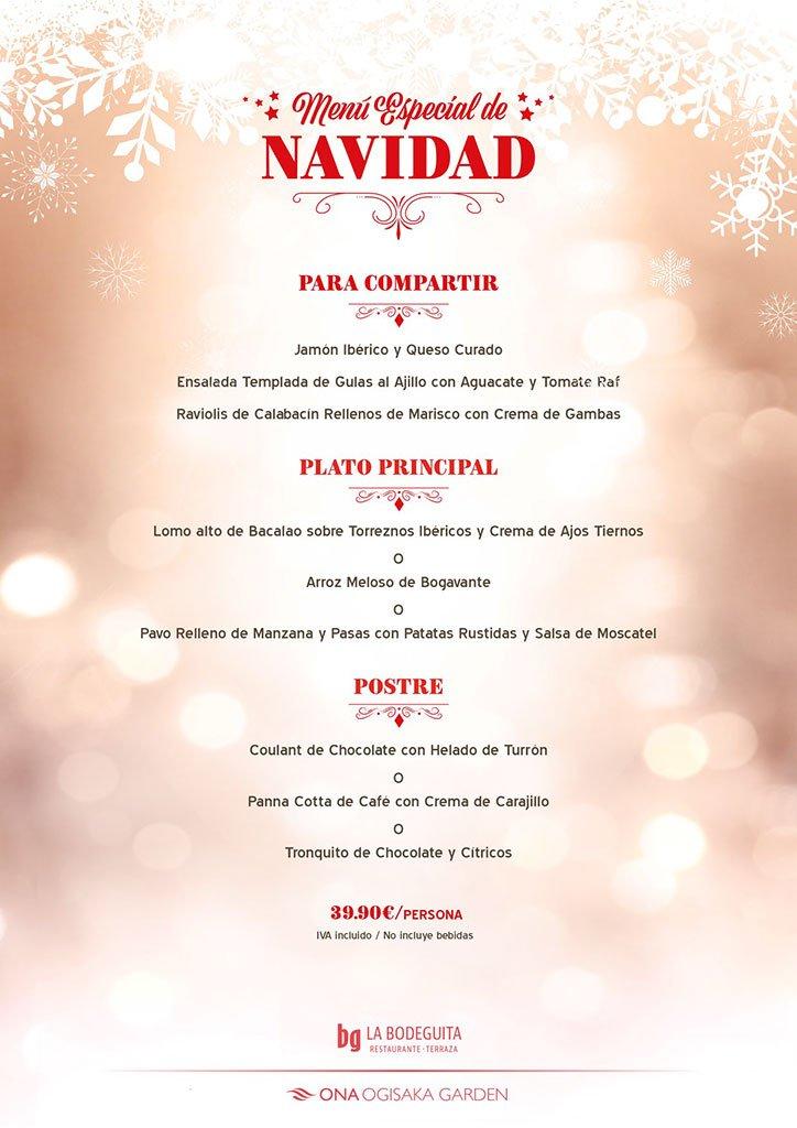 Christmas menu in Ona Ogisaka Garden