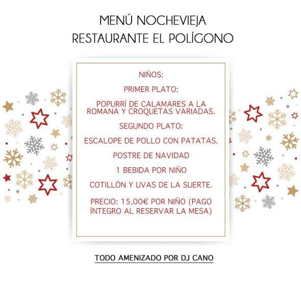 Menu nochevieja Restaurante El Poligono