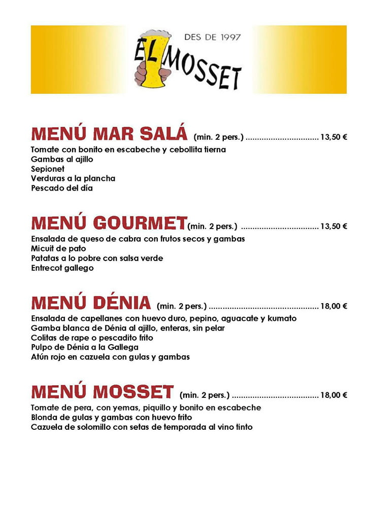 Christmas menus for groups El Mosset