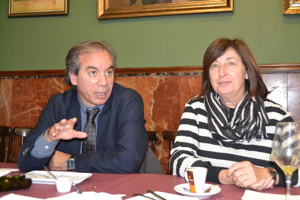 Miguel Llobell y Pepa Font durante el almuerzo de Navidad
