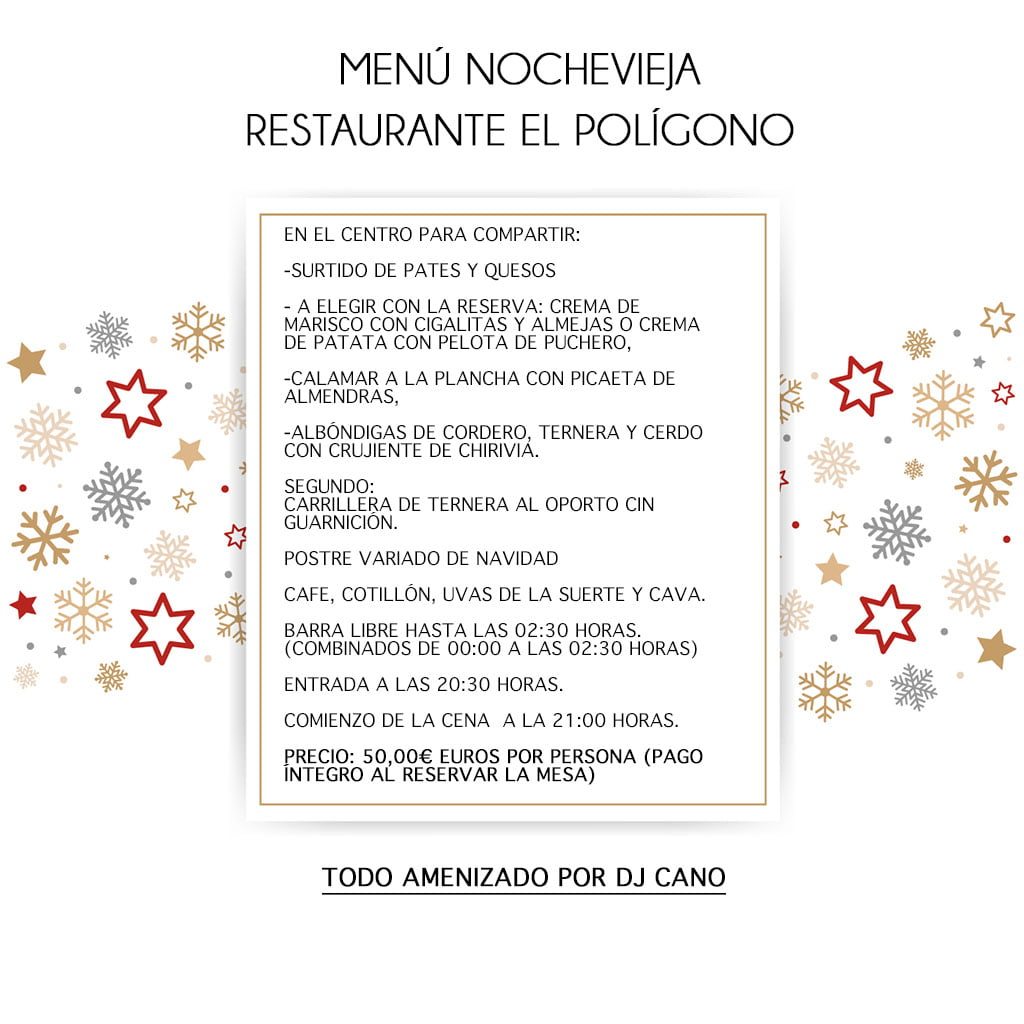 Poligono New Year's Eve menu
